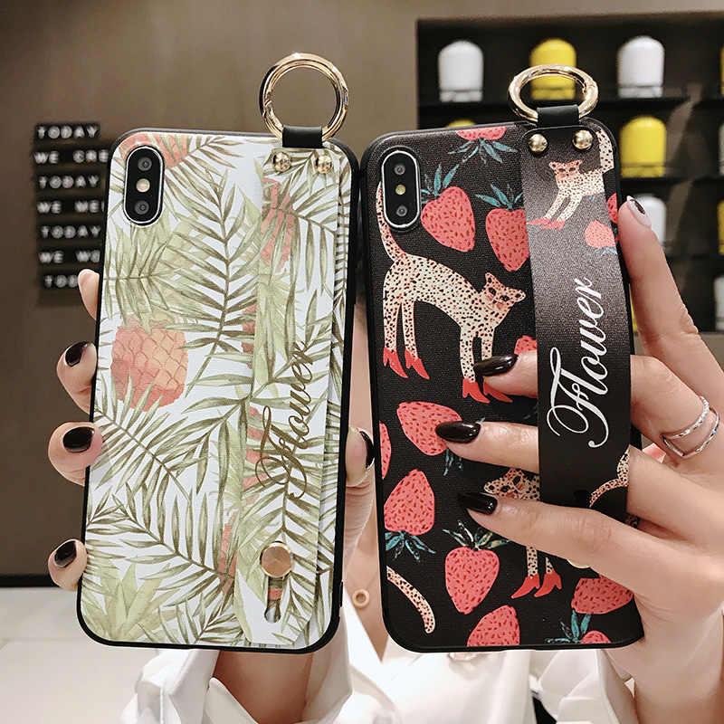 Băng Cổ Tay Nửa Bao Ốp Lưng Dành Cho Samsung Galaxy Samsung Galaxy S10 S9 S8 S20 Plus Cực S10e Note 9 8 10 Plus dây Đeo Cổ Tay Mềm Mại Ốp Lưng TPU