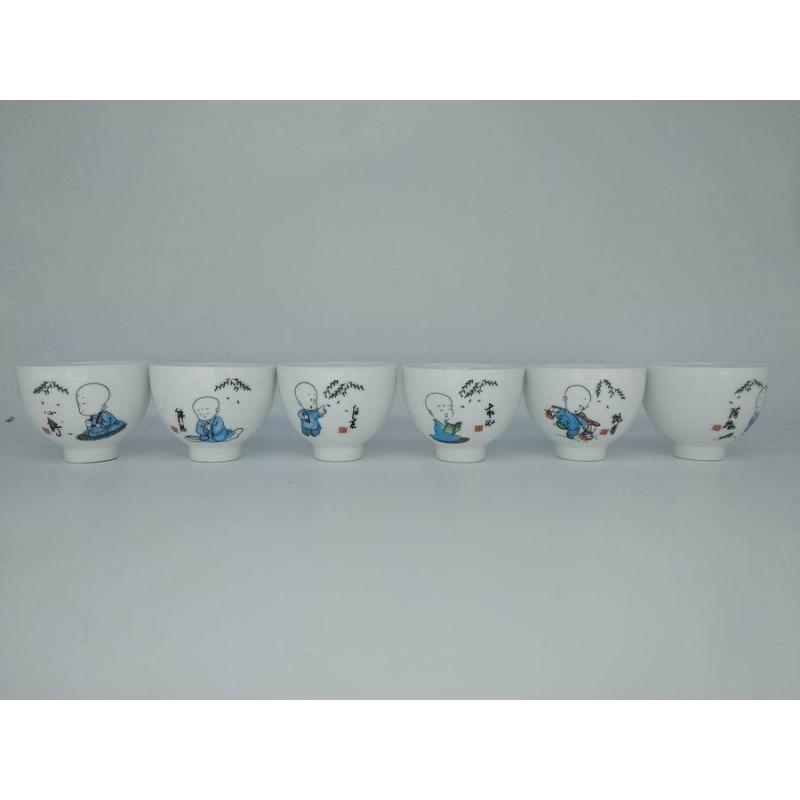 6 Pcs Ceramics Teacups Chinese Kung Fu Teacups Teaset Gaiwan Tea Cups Of Tea Ceremony Gift For Friend China Tea Set in Teaware Sets from Home Garden