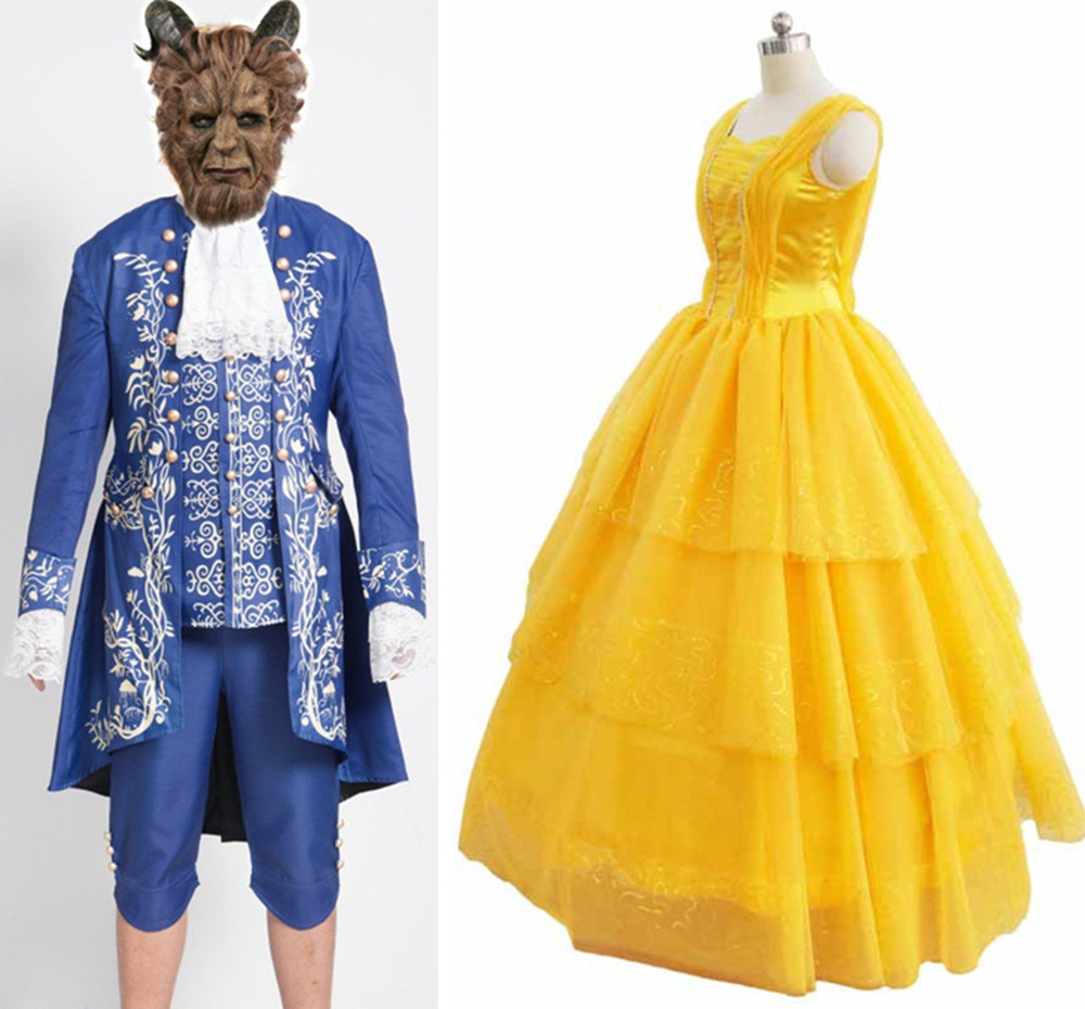 Hot Movie Beauty And The Beast Cosplay Costumes Adult Prince Adam Costume/mask For Men Belle Princess Dress Halloween Party