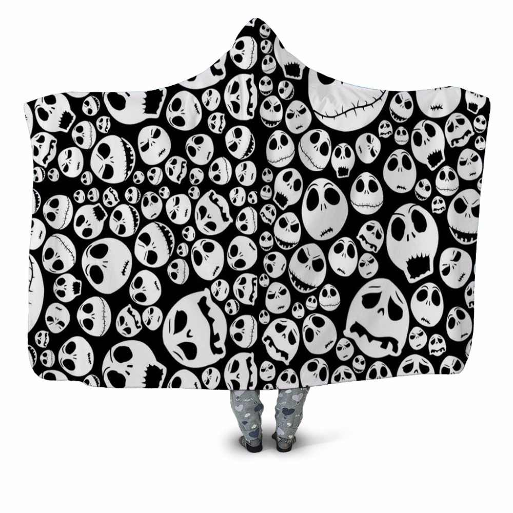Smile Skull 3d Printed Plush Home Office Textile Hooded Blanket For Adult Child Washable Warm Sofa Velet Fleece Throw Blanket