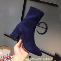 style women short boots riveted design zipper through the star thick square high heels women's round toe women short boots