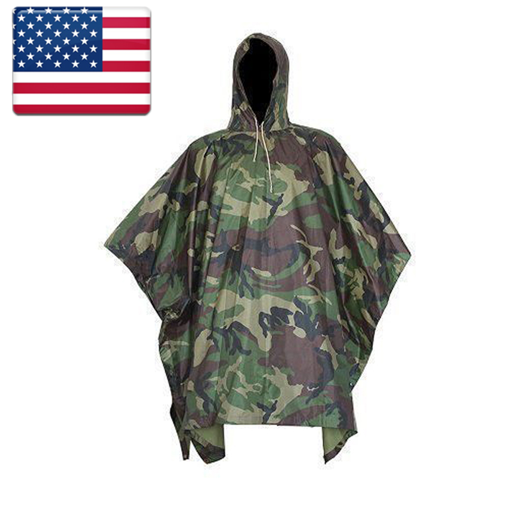 USA Stock Military Outdoor Hiking Woodland Wet Weather Camouflage Poncho Raincoat Outdoor Activities