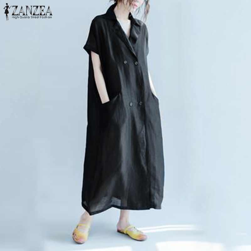 a3d3b6f38d ZANZEA Elegant Women Summer Lapel Neck Short Sleeve Solid Kaftan Dress  Casual Cotton Linen Dresses Loose