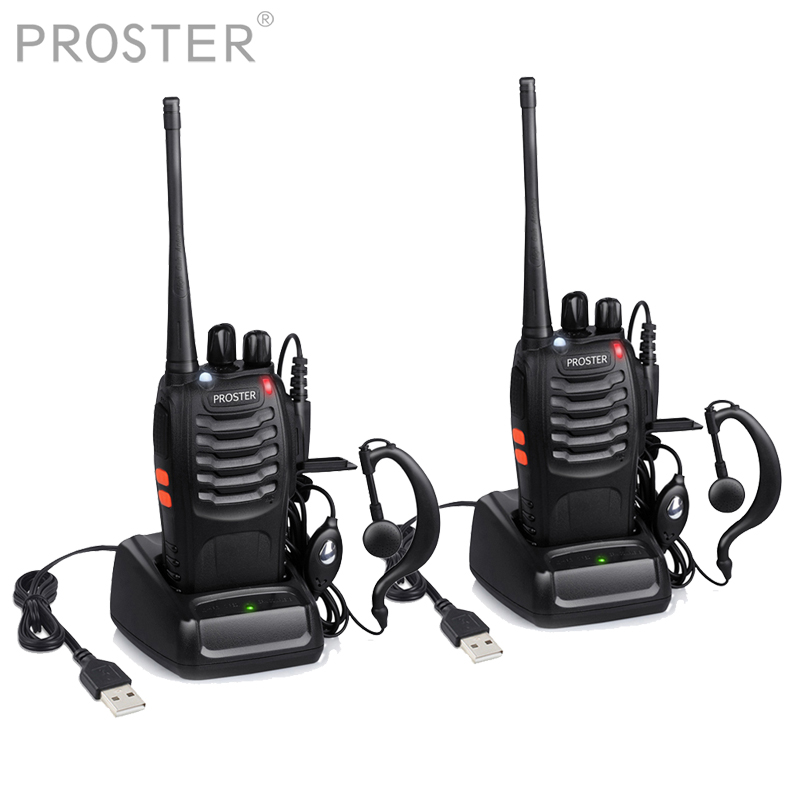 Proster 2 PCS Para UHF 400-470MHZ walkie talkie 16CH Transceptor Portátil com Fone de ouvido de rádio em dois sentidos Walkie