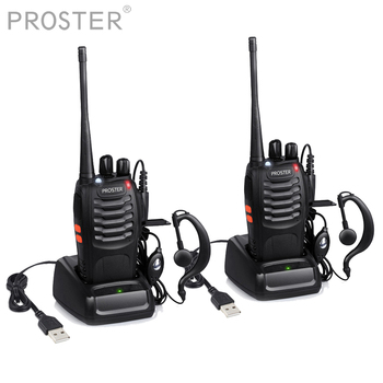 Proster 2 PCS For UHF 400-470MHZ walkie talkie two way radio 16CH Portable Transceiver with Earpiece Walkie