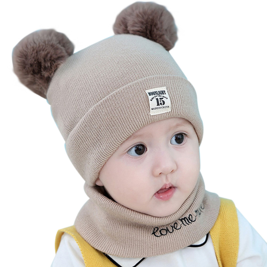 b9af2d1f0 US $4.21 5% OFF|Baby Girls Boys Winter Warm Knit Beanie Hats Set Infant Pom  Pom Ball Cap Scarf Snood Kids Baby Pompom Hat Scarf Ring Toddler-in Hats &  ...