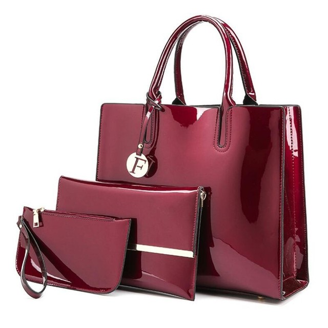 eef110a7a9d7 3 Sets High Quality Patent Leather Women Handbags Luxury Brands Tote Bag+Ladies  Shoulder Messenger crossbody bag+Clutch Feminina