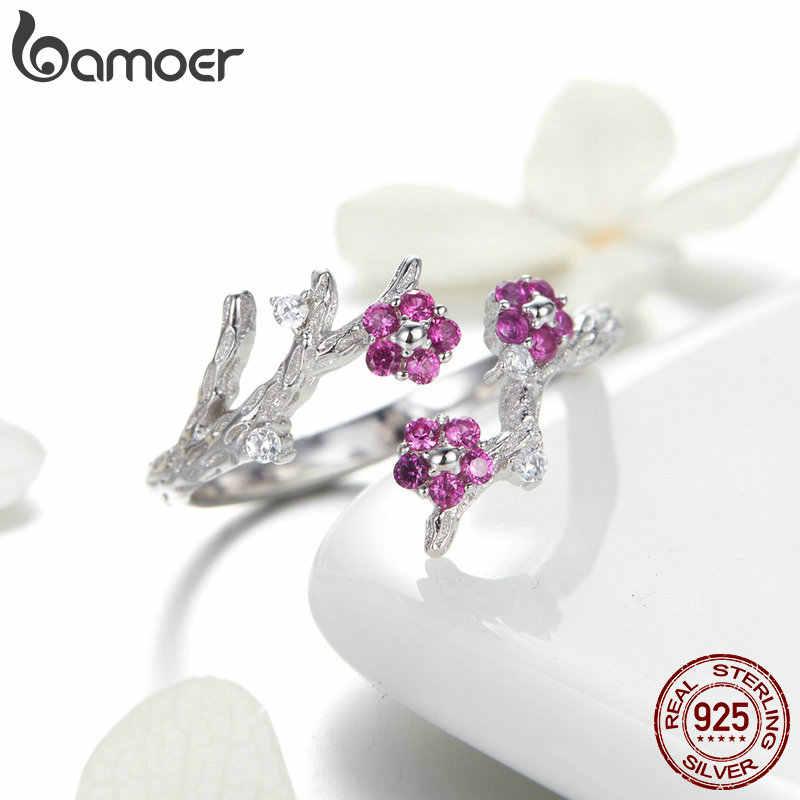 BAMOER 100% 925 Sterling Silver Inverno Florescendo Ameixa Flor Anéis de Tamanho para As Mulheres Noivado Jóias BSR022 Aberto