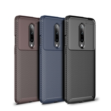 for OnePlus 7 Pro Case Slim Fitted Soft TPU Phone Case Shockproof Carbon Fiber Dual Layer Armor Silicone Cover for OnePlus 7 Pro
