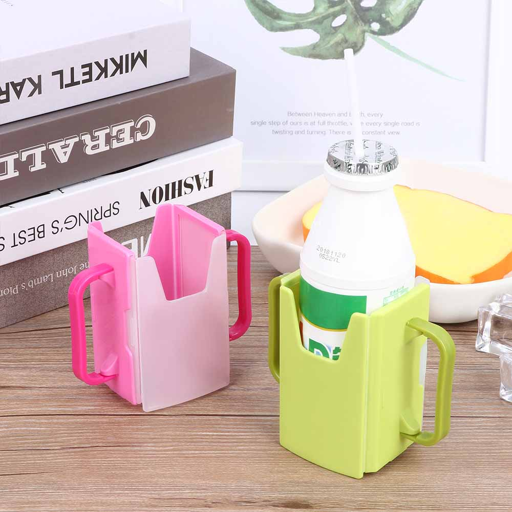 Practical Convenient Supply Universal Baby Self-Help Drink Juice Milk Box Holder Cup Storage Milk Adjustable Handles Supply