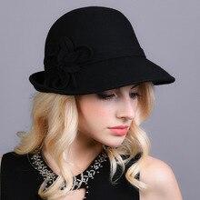 41024ca2f4355 Mujer elegante sombrero de fieltro invierno mujer cubo sombrero de Otoño de  1920 s Vintage flor