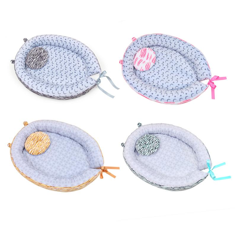Portable Cotton Baby Nest Bed Crib With Pillow Removable And Washable Crib Travel Bed For Children Infant Kids Cradle