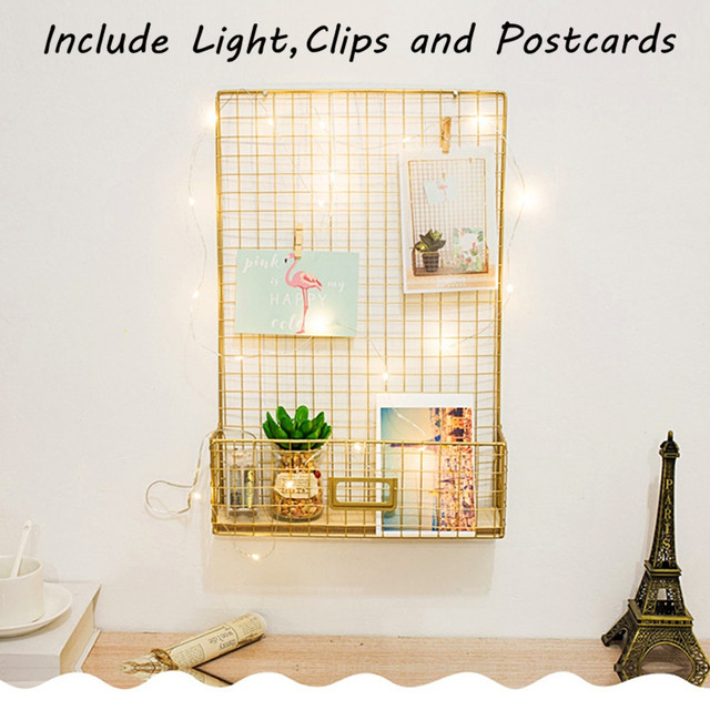 Nordic Style Photos Wall-mounted Storage Iron Rack Gold Iron Grids Mesh Hanging Decoration With Postcard LED Light Clip