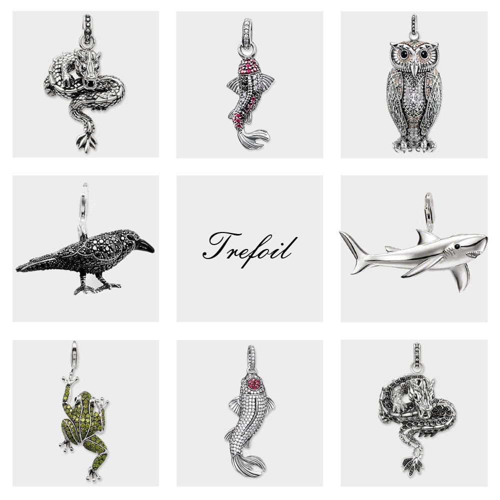 Blackened Dragon Koi Fish Raven Frog Shark Pendants, Fashion Jewelry 925 Sterling Silver Punk Gift For Women Men Fit Necklace