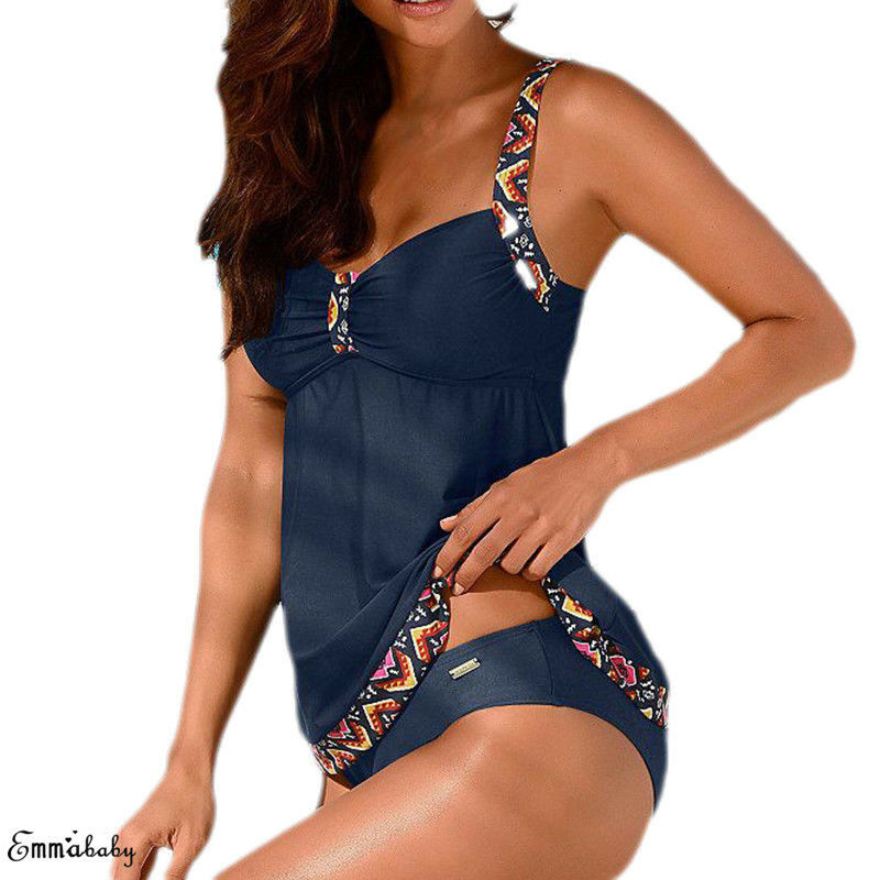 New Arrivals Women Floral Striped Patchwork Spaghetti Strap Padded Push-Up Bra High Waisted Tankini Swimsuit Plus Size 3XL