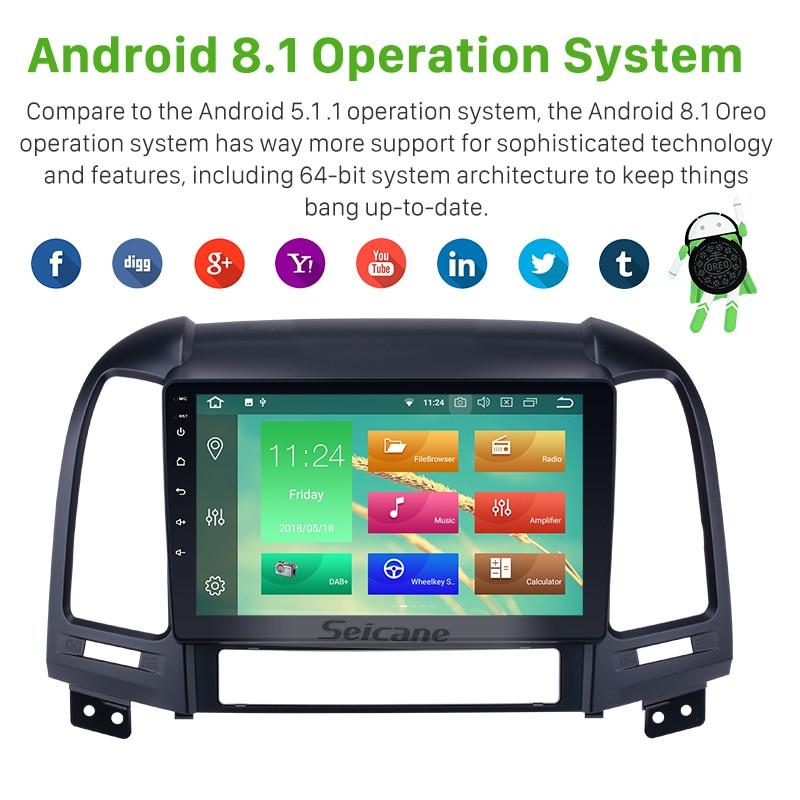 Seicane 1Din 4G + 32G Android 8.1/8.0 9 pouces Autoradio Pour Hyundai SANTA FE 2006 2007 2008 2009 2010 2011 2012 GPS Unité de Tête - 2