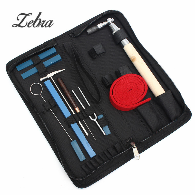 11 pièces/ensemble Piano professionnel Tuning marteau clé muet marteau poignée outils Kit + étui pour pièces et accessoires Piano