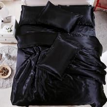 طقم لحاف سرير فاخر ماركة لوفينسشاين لحاف سرير كوين كينج مصنوع من الحرير بلون واحد AF03 #