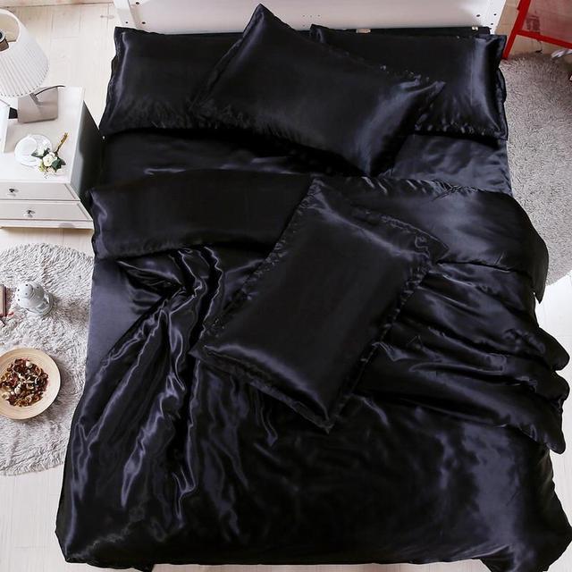 Lovinsunshine luxo consolador conjunto rainha rei edredon seda capa de cama consolador em cor sólida af03 #