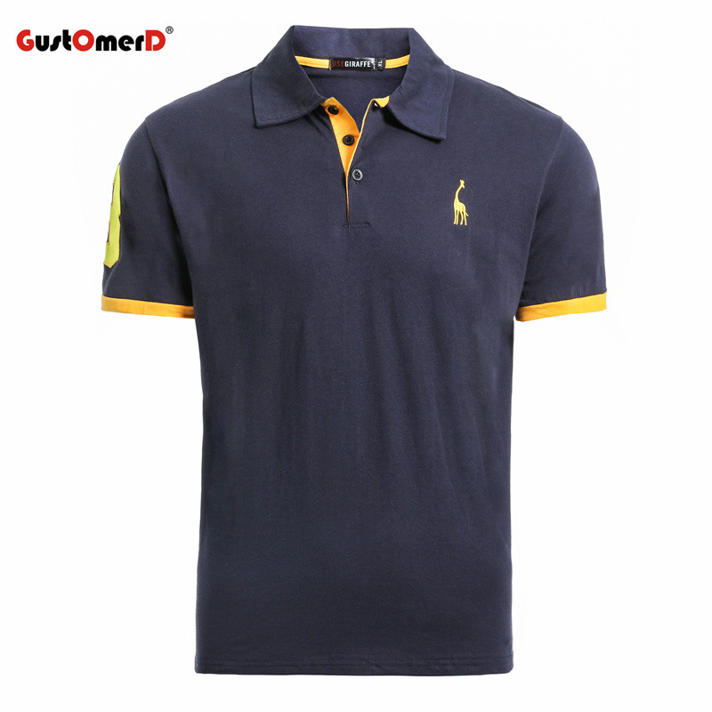 GustOmerD Summer 100% Cotton Polo Shirt Men Short Sleeve Casual Mens Shirts Camisa Polo Giraffe Soft Feel Quality Mens Polos