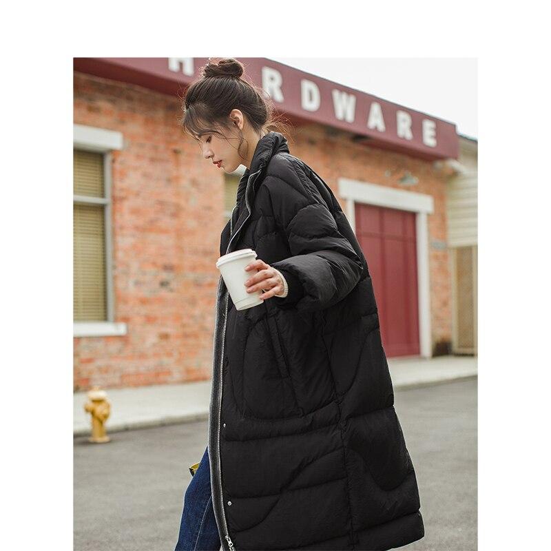 Cuello Black Invierno Retro Mujer khaki Abrigo La Llegada De Sección Nueva Inman Suelto Cálido Del Largo w1I6nC4q