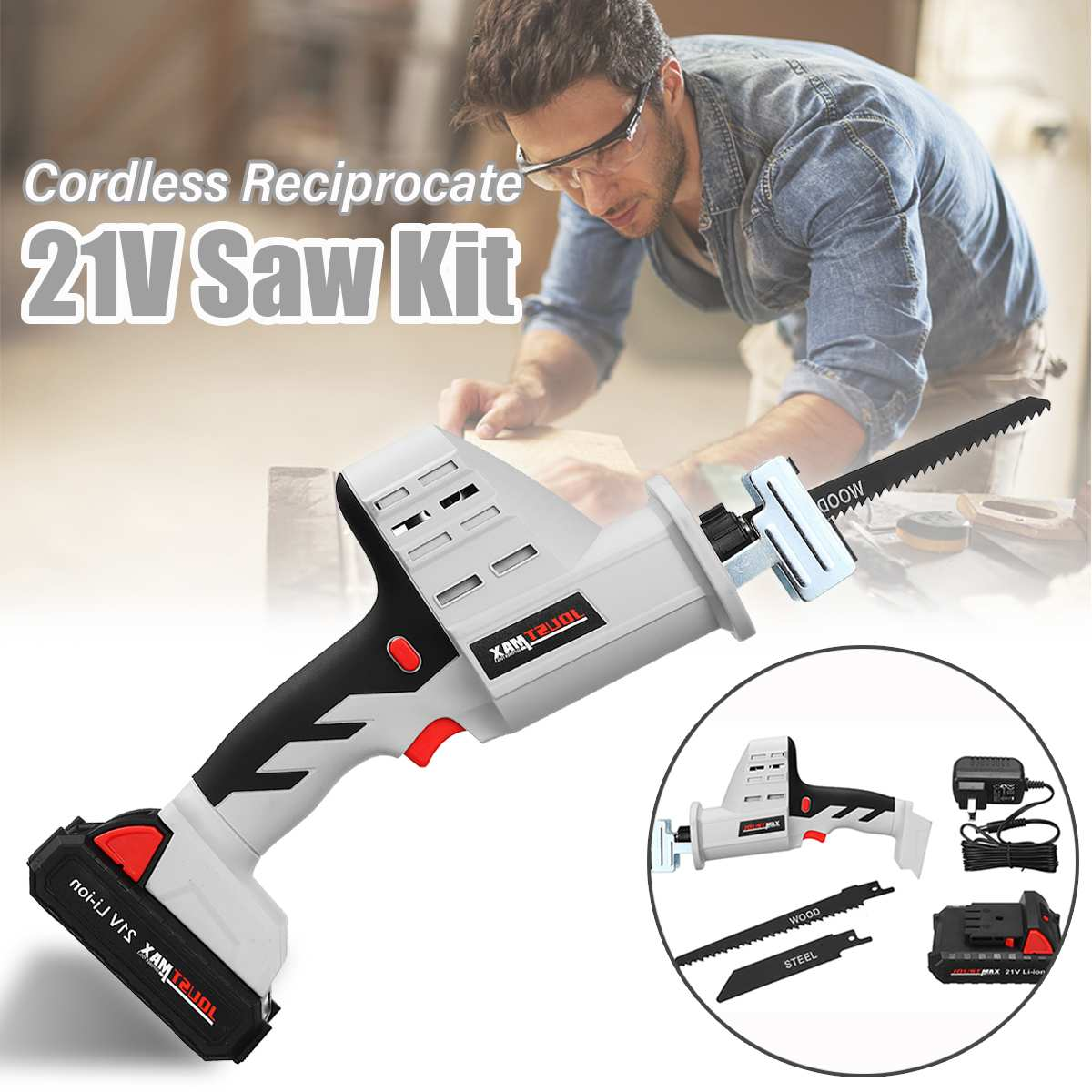JOUST MAX 21V Portable Charging Cordless Electric Li-Ion Reciprocating Saw Wood Metal Saws Cutting Tool W/ 2 Blades Power ToolsJOUST MAX 21V Portable Charging Cordless Electric Li-Ion Reciprocating Saw Wood Metal Saws Cutting Tool W/ 2 Blades Power Tools