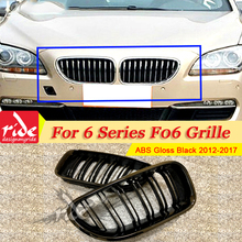 1 Pair F06 Front Grille ABS Gloss Black For Mesh Grills M-Style 640i 640d 650i 650d 2-Slats Kidney 12-17