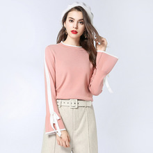 2018 Spring and autumn new European American womens sweaters bows band loose ladies bottoming sweater women 1819