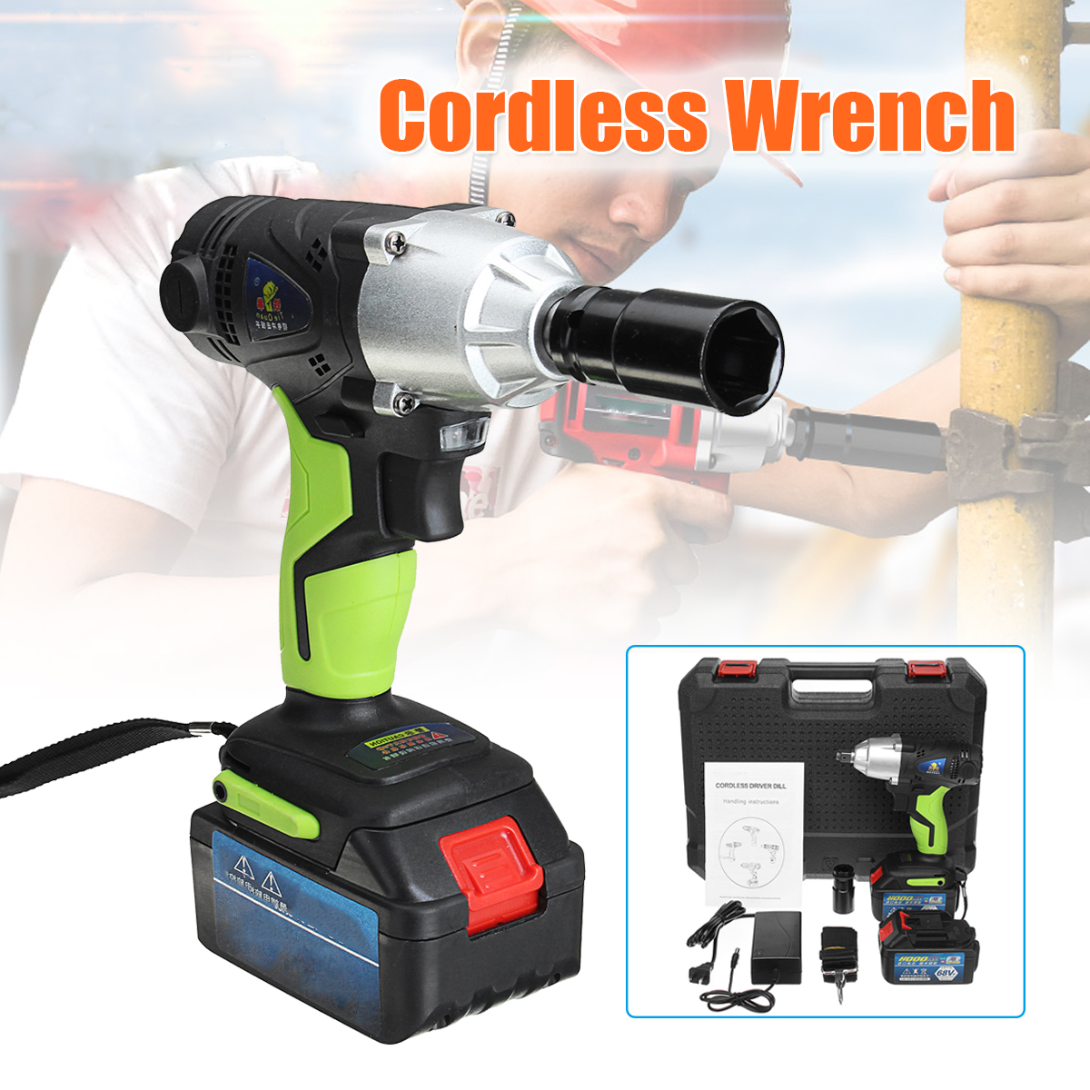 8.0Ah 68V Cordless Electric Wrench Rechargeable Li Battery Hand Drill Driver Drill Power Wrench Tools 1 Charger with 2 Batteries8.0Ah 68V Cordless Electric Wrench Rechargeable Li Battery Hand Drill Driver Drill Power Wrench Tools 1 Charger with 2 Batteries