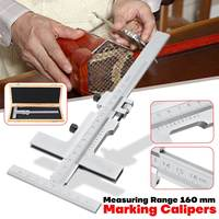 0 160mm DIN862 Measuring Guage Marking Vernier Caliper Scraper Bridge Tool 0.05mm Adjust with Storage Case Vernier Caliper Steel