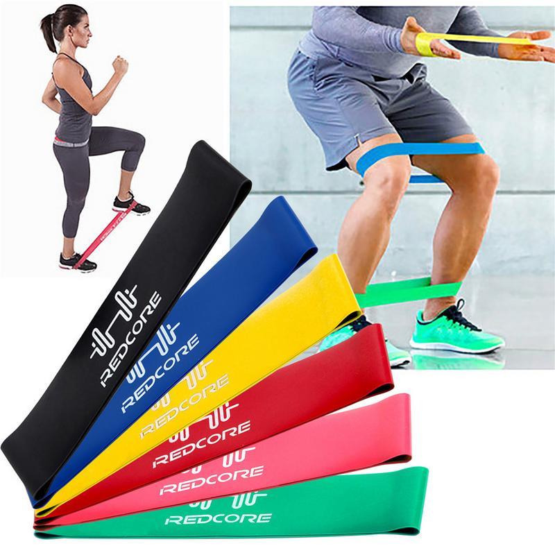 ★  XC Полный набор из 6 полос сопротивления 50 см Упругие упражнения для упражнений Yoga Latex Loop Ban ✔