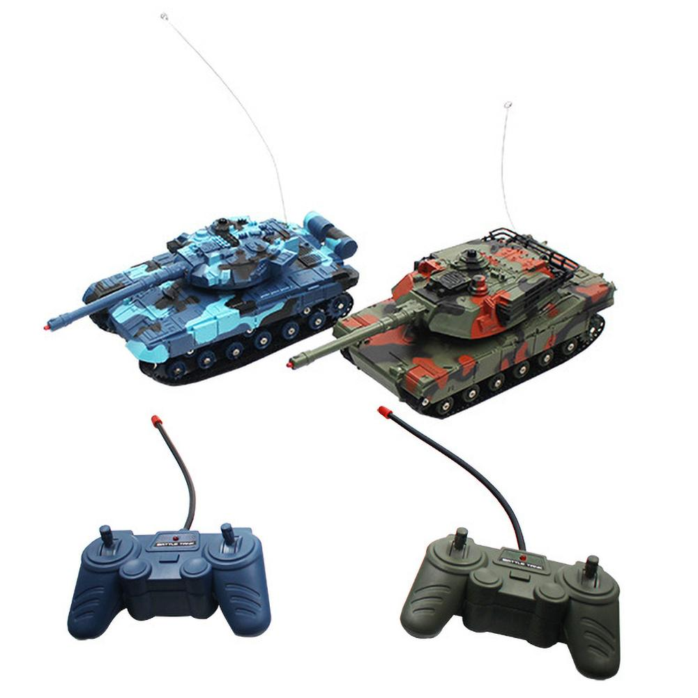 2PCS Funny Small Toy Cars Double Battle Car Remote Control Tank Toys For Children Kids Boy