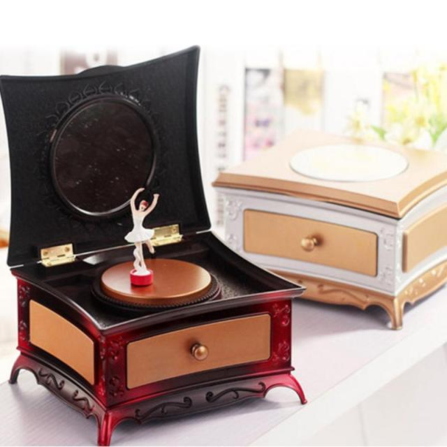 Augkun 1pc Rotating Storage Music Box Clical Dressing Table Creative Jewelry With Makeup