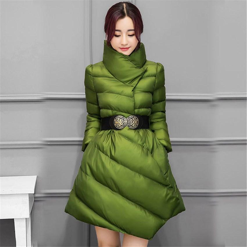 vert Parkas Épais Élégant Survêtement rouge Manteaux Chaud Manteau pourpre Veste Femmes Noir Ceinture Avec Mince Casual Mi Longue Coton D'hiver qwCtYT