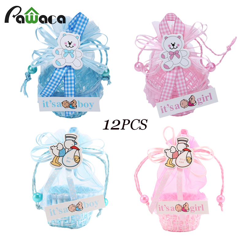 12Pcs/lot Candy Box Lovely Bear Pink And Blue Baby Boy Girl Gift Box Baby Shower Birthday Party Decorations Kids Party Supplies
