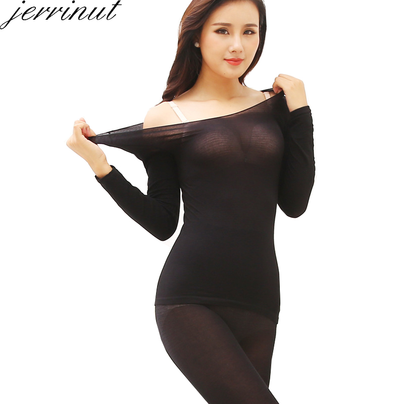 Jerrinut Warm Long Johns Thermal Underwear For Women  Winter Clothing Suit Female Long Johns Cotton Sexy Thermal Underwear Set