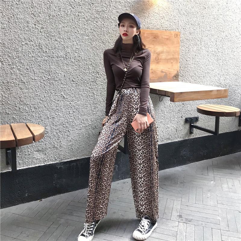 Vintage Leopard Print   Pants   Women 2019 Fashion Elastic Waist Animal Pattern Ladies Trousers Casual Split   Wide     Leg     Pants
