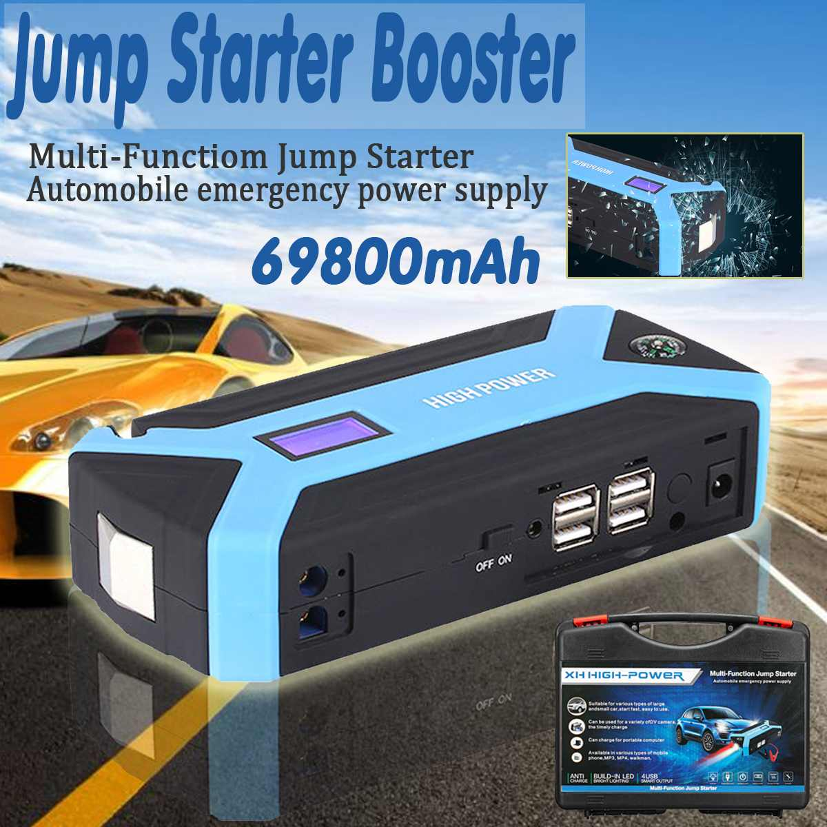 Multifunction Jump Starter 69800mAh 12V 4USB 600A Portable Car Battery Booster Charger Booster Power Bank Starting DeviceMultifunction Jump Starter 69800mAh 12V 4USB 600A Portable Car Battery Booster Charger Booster Power Bank Starting Device