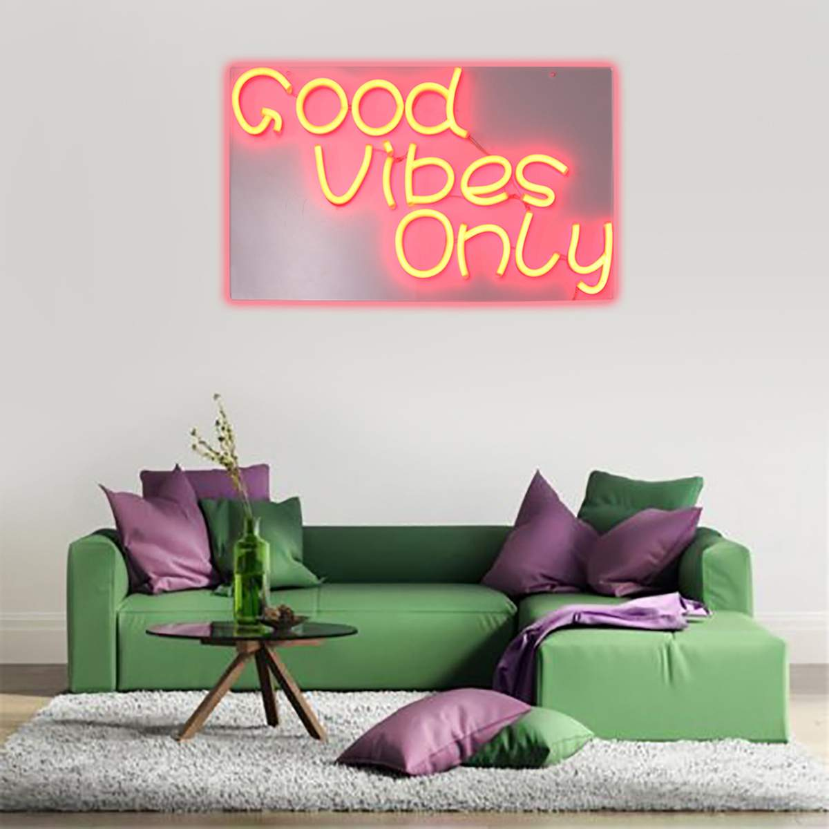 Good Vibes Only Neon Art Sign LED Light Tube Handmade Visual Artwork Wall Decoration Colorful Neon Bulbs Billboard 60cmX35cm
