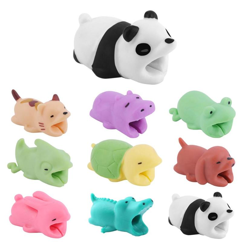 1Pc Cute Bite Cartoon Animal Cable Protector Cord Wire Protection Mini Cover Charging Cable Winder For Phone Data Cable Protect