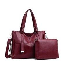 2 pc/s Luxus Handtaschen Frauen Taschen Designer Weibliche Leder Schulter Tasche Damen Hand Tasche Vintage Geldbörsen Und Handtaschen Sac EIN wichtigsten Neue