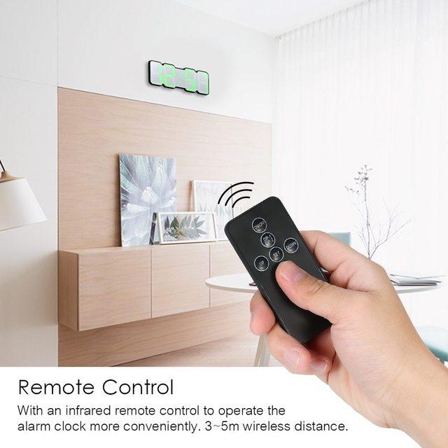 Upgrade 3D Remote Control Digital Wall Clock 115 Colors LED Table Clock Time Alarm Temperature Date Sound Control Night Light 3