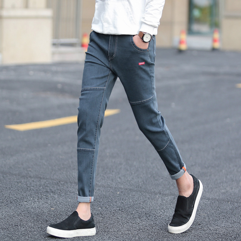 Summer Black Nine-cent   Jeans   Men's Korean Edition Slim Teenagers Short-legged Men's Stretch Pants Men's Trousers