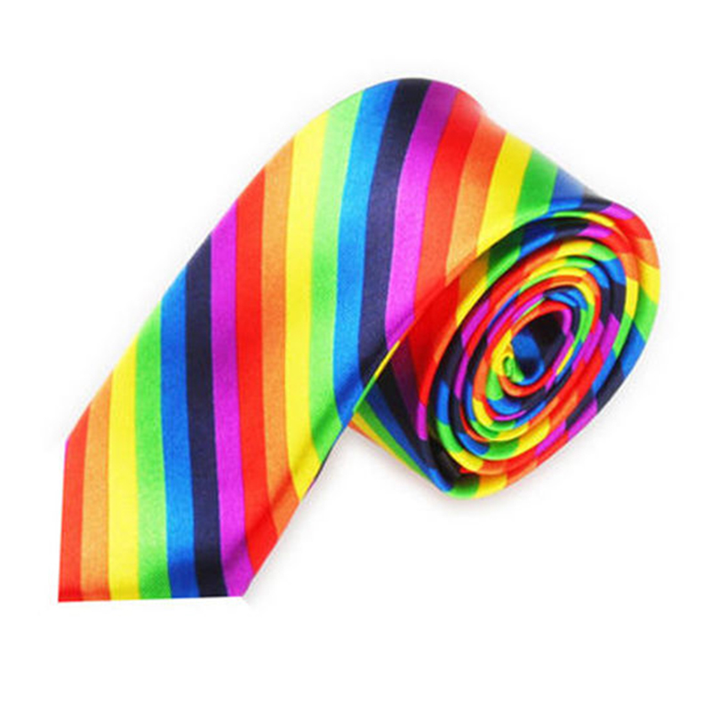 Men Fashion Casual Skinny Slim Narrow Tie Formal Wedding Party Necktie, #19 (Rainbow Color Stripes)