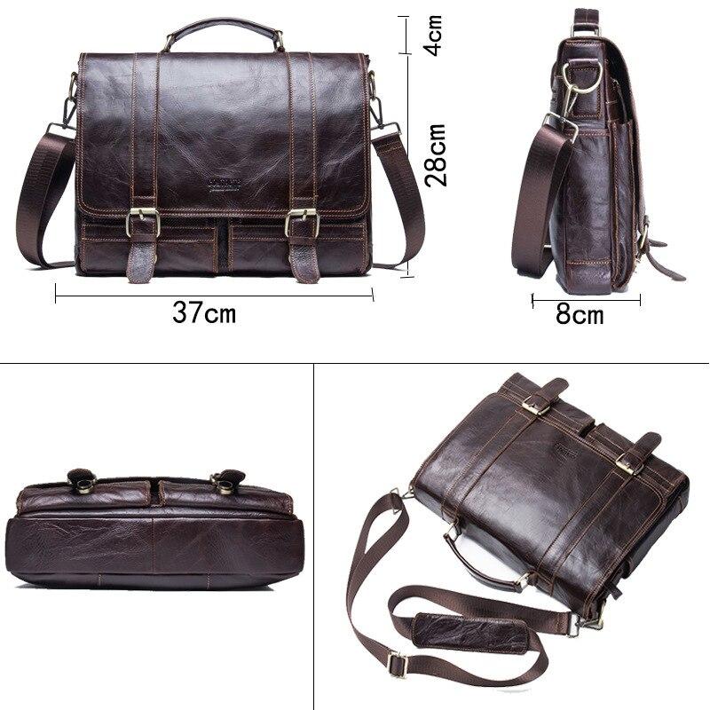 2019 affaires hommes en cuir véritable sac 14 ''ordinateur portable fourre-tout porte-documents pour hommes bandoulière sac à main homme Messenger sac mallca - 5