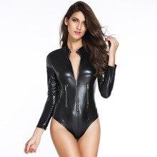 2019 Sexy Skinny Women Simple Style Black Leatherwear Long Sleeve Zipper