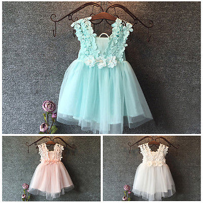 Pudcoco Girl Dress 2Y-7Y Elegant Feast Baby Girls Princess Lace Flower Tulle Tutu Gown Formal Party Dress