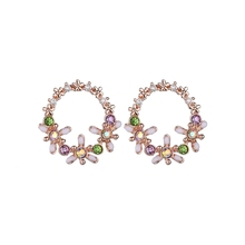 лучшая цена Fashion Multicolor CZ Stone Round Earrings For Women Rose Gold Color Cubic Zirconia Crystal Flower Stud Earings Jewelry