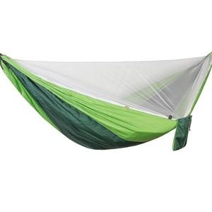 Image 3 - Ulatralightダブル蚊帳ハンモック簡単セットアップhamak 290*140センチメートル風のロープ爪ポータブルキャンプ旅行ヤード