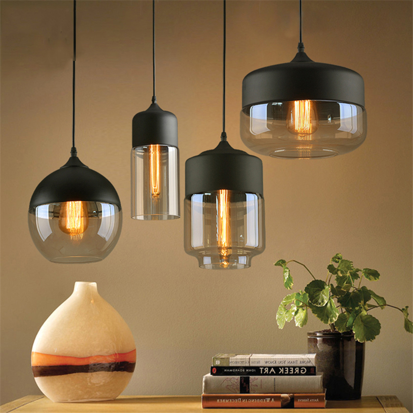 Nordic LED Pendant Lights Black/White Clear Glass Lampshade Loft Pendant Lamp E27 Dinning Room Home Deco Lighting Fixtures Avize
